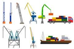 起重机、卡车和集装箱船 免版税库存图片