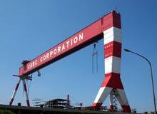 起重机台架大造船厂 图库摄影