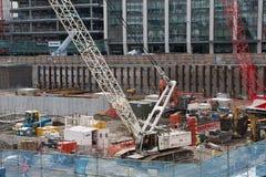 起重机和楼房建筑站点,哈博唱腔 免版税库存图片