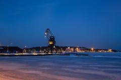 起重机在吕勒奥南港口 库存照片