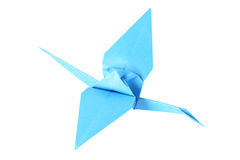 起重机在白色的查出的origami 库存图片