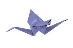 起重机在白色的查出的origami 免版税库存照片