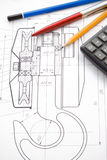 起重机草拟的异常分支笔铅笔 免版税图库摄影