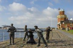 起锚机雕塑赫尔辛堡 免版税图库摄影