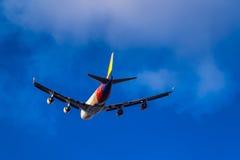 起飞波音747-400 Asiana货物HL7420 库存图片