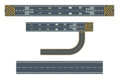 起飞的和登陆的航空器的机场跑道 向量例证
