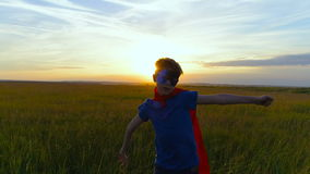 超人服装的一个男孩横跨绿色领域跑在日落