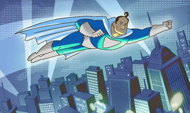 超人abowe城市 免版税图库摄影