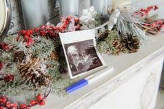 超声波图片和妊娠试验 库存图片