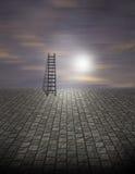 超现实梯子的场面 免版税库存照片