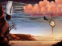 超现实沙漠数字式绘画的天空 免版税库存照片