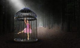 超现实的俘虏,被困住,女孩,跳芭蕾舞者 库存图片