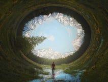 超现实的圆的风景 库存图片