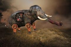 超现实的大象,工业机器零件 免版税库存图片