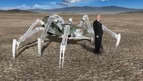 超现实的奇怪的企业风景,蜘蛛 免版税库存图片