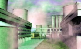 超现实的工业区 图库摄影