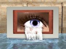 超现实的眼睛,哭泣,水例证 皇族释放例证