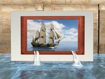超现实的美术馆画廊,船,高航行 库存图片
