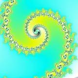 超现实的背景/分数维蓝天黄色螺旋 免版税库存照片