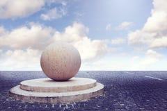 超现实的背景 在空的正方形的抽象石球在蓝天 免版税库存图片