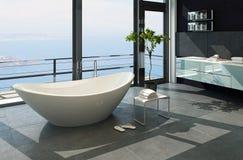 超现代当代设计卫生间内部有海视图 免版税库存照片