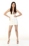 超短裙白人妇女 库存图片