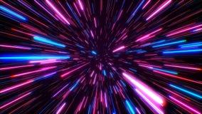超空间跃迁通过对一个遥远的空间无缝的圈的星 霓虹光芒 向量例证