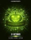超级万圣夜党 丝带横幅 光抽象明亮的闪光与绿灯的 绿色动画片南瓜、蜘蛛和棒 T 图库摄影