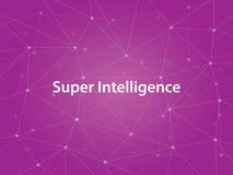 超级与紫色星座地图的智力白色tetx例证作为背景 免版税图库摄影