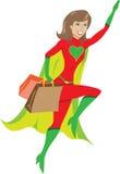 超级去飞行女孩英雄的疯狂购物 库存照片