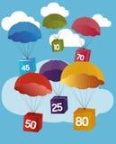 超级在五颜六色的背景的销售光亮的横幅 传染媒介illustr 免版税库存图片