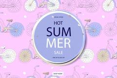 超级夏天自行车销售概念 库存图片