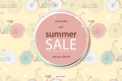 超级夏天自行车销售概念 免版税库存照片