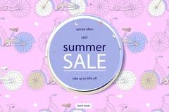 超级夏天自行车销售概念 库存照片