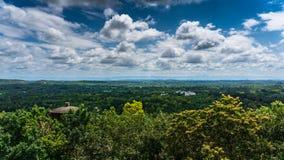 超级多云天空在森林里 库存图片