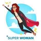超级女实业家字符传染媒介 成就胜利概念 在天空的成功的超级英雄女商人飞行 库存图片