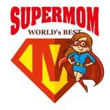 超级妈妈英雄商标Supehero信件 库存图片