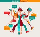 超级妈妈-多任务母亲的例证 库存图片