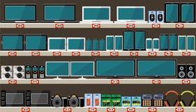 超级市场、架子与电子和小配件 免版税图库摄影