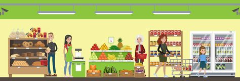 超级市场内部例证 向量例证