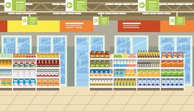 超级市场内部用在架子传染媒介的食物 向量例证