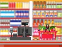 超级市场内部 出纳员逆工作场所 向量例证