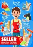 超级市场出纳员或卖主行业海报 库存例证