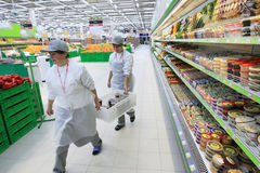 超级市场工作者 免版税库存图片