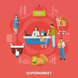 超级市场收银处构成 图库摄影