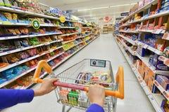 超级市场视图 库存照片