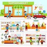 超级市场infographic元素 平的传染媒介设计例证 人们在商店选择产品并且买物品 库存例证