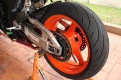 超级摩托车轮胎 库存照片