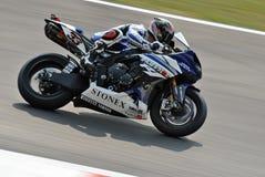 超级摩托车队山叶世界超级摩托车马尔科・梅兰德里 免版税库存图片
