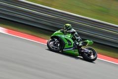 超级摩托车队赛跑克里斯・韦尔默朗的川崎 库存照片
